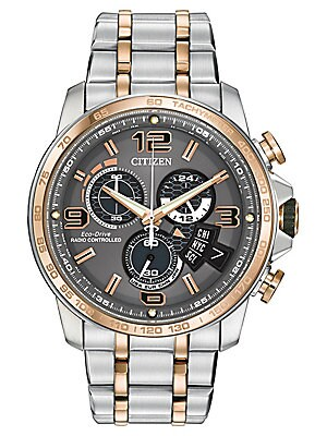 Mens Eco Drive Two Tone Chronograph Watch