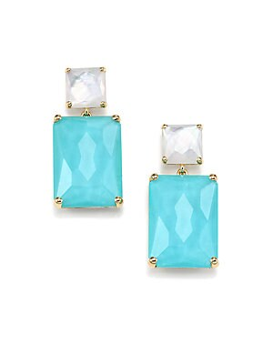 Rock Candy Turquoise, Mother-Of-Pearl, Clear Quartz & 18K Yellow Gold Rectangle Snowman Earrings