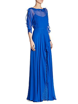 Ruffled Chiffon Silk Gown