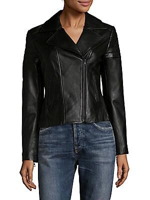 Panelled Leather Moto Jacket