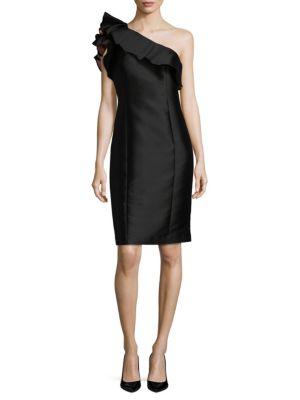 Black One Shoulder Satin Dress