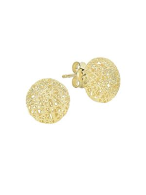 14K YELLOW GOLD TEXTURED ROUND EARRINGS