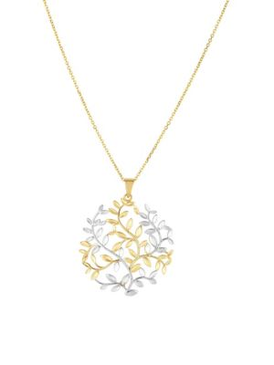 14K TWO TONE GOLD TREE OF LIFE PENDANT NECKLACE