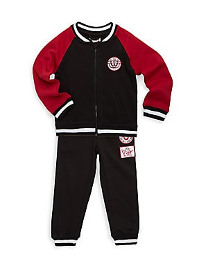 Baby's Two-Piece Cotton Jacket and Embroidered Jogger Pants