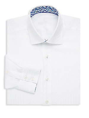 Cotton Tonal Geometric Print Dress Shirt
