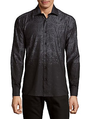 Cotton Ombre Paisley Button-Down Shirt