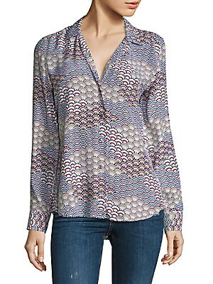 Adalyn Retro Scale Printed Silk Top