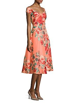 Floral V-Neck Off-The-Shoulder Dress