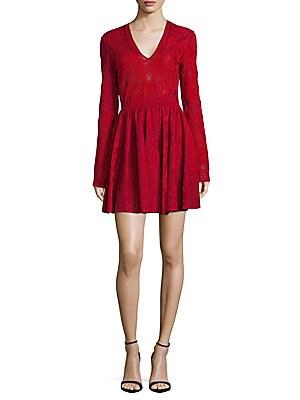 Embroidered V-Neck A-Line Dress