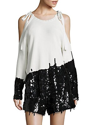 Tie Shoulder Sequin Cold Shoulder Top