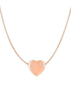 Click here for 14K Rose Gold & Diamond Heart Chain Necklace prices
