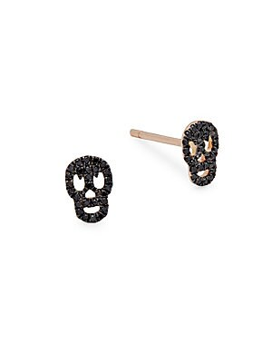Skull Diamonds and 14K Rose Gold Stud Earrings