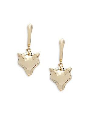 14K Yellow Gold & Diamond Fox Wire Drop Earrings
