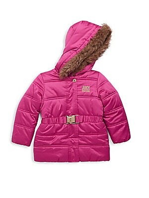 Baby's, Little Girl's & Girl's Faux Fur Trimmed Parka