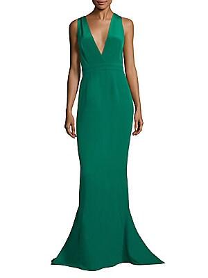 Deep V-Neck Silk Mermaid Gown