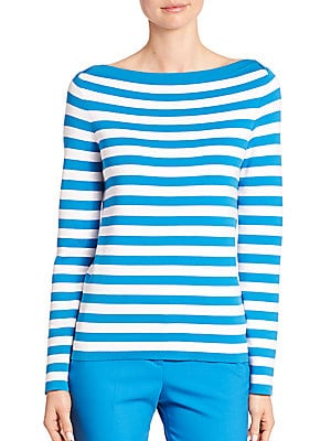 Striped Boatneck Cotton Sweater