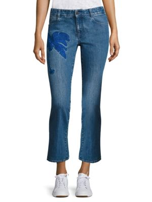 EMBROIDERED SKINNY KICK FLARE JEANS