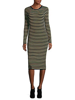 Metallic Striped Merino Wool Sweater Dress