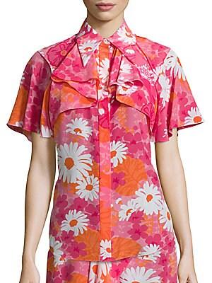 Floral Button Silk Top