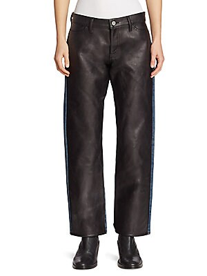 Faux Leather Front Jeans