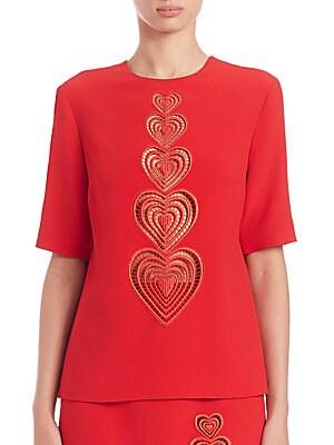 Heart-Print Cutout Top