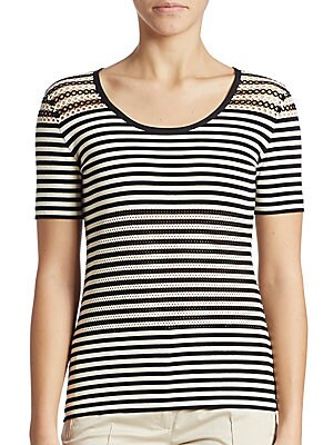 Cotton-Blend Striped Tee