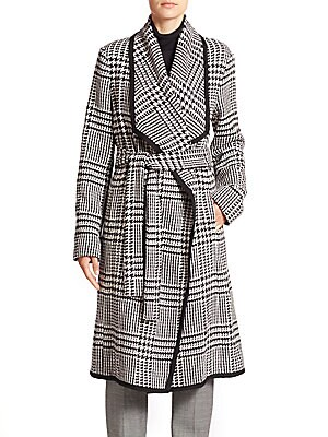 Houndstooth Belted Wool Coat