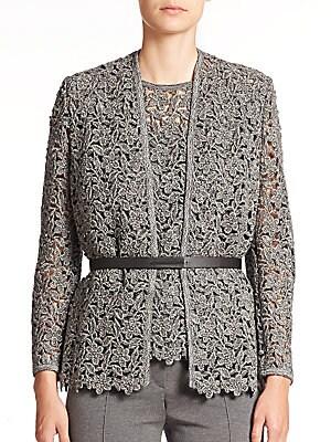 Belted Floral-Lace Knit Jacket