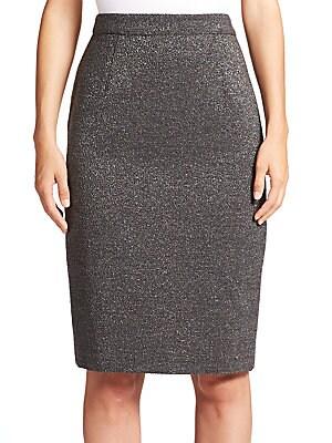 Metallic Boucle Pencil Skirt