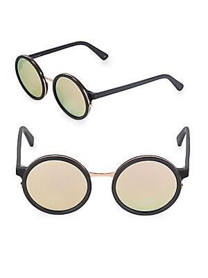 50MM Soleil Mirrored Round Sunglasses