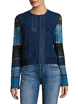 Suri Colorblock Lace Bomber Jacket