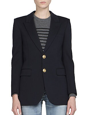 Anchor Button Wool Jersey Blazer