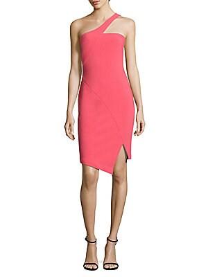Cerise One-Shoulder Dress