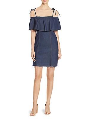 Ruffled Cold-Shoulder Denim Dress