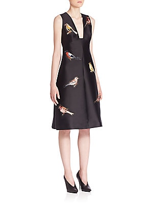 Bird Embroidered Duchess Satin Dress