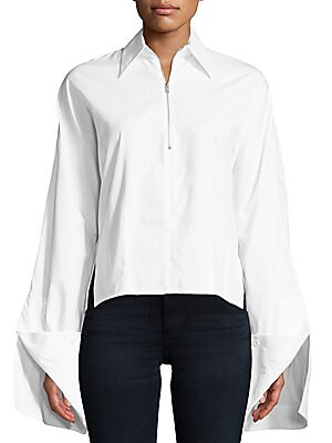 Cotton Poplin Zip Top Shirt