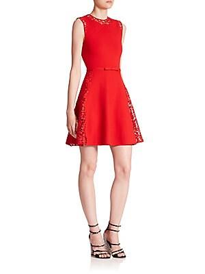 Sleeveless Macramé Lace Fit-&-Flare Dress