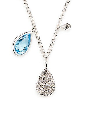 Click here for Blue Sapphire  Diamond and 14K White Gold Pendant... prices