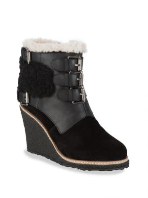 MONK STRAP SHEARLING WEDGE BOOTS