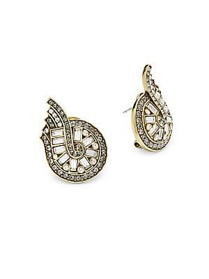 Baguette V Front Crystal Earrings
