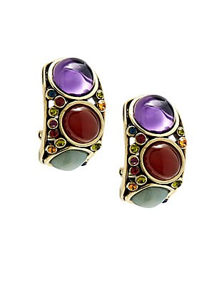 Crystal Cabochon Earrings