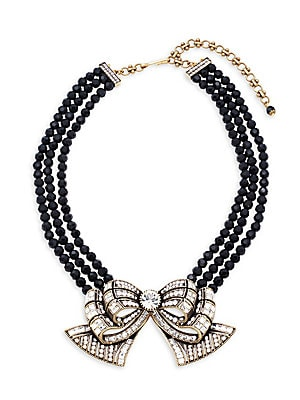 Bow Beaded Crystal Multi-Strand Necklace