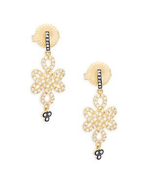 Crystal Clover Drop Earrings