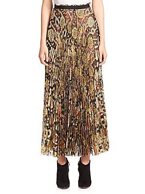 Pleated Metallic Print Skirt