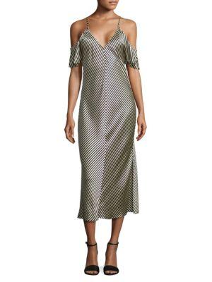 Cold-Shoulder Striped Silk Midi Dress