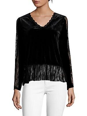 Click here for Sheer Lacework Velvet Blouse prices