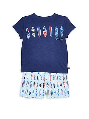 Little Boy's Surfboard Print Tee and Shorts Set