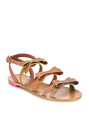 Samara Faux-Leather Bow Flat Sandals