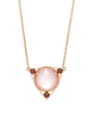 Allure Mother-Of-Pearl Doublet, Pink Tourmaline & 18K Yellow Gold Earrings