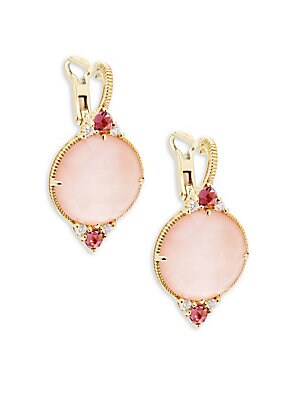 Allure Mother-Of-Pearl Doublet, Pink Tourmaline & 18K Yellow Gold Drop Earrings